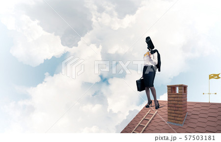 Concept of security and privacy protection with camera headed woman 57503181