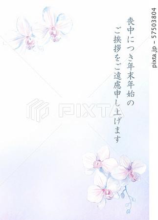 喪中はがきテンプレート 胡蝶蘭 57503804