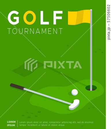 Golf tournament promo poster flat template 57506602