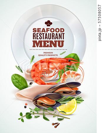 Seafood Menu Realistic Poster 57508057