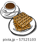 手書きなコーヒーとワッフル 57525103