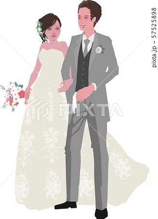 グローブを持つ新郎と花束を持つ新婦(ベクター化) 57525898
