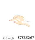 女性の手、人差し指で軽く触れるポーズ、線描 57535267