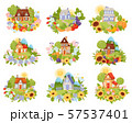 Set of village houses in the meadow with a path. Vector illustration. 57537401