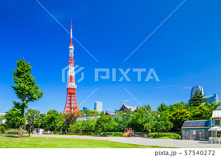 東京 春の芝公園と東京タワー 57540272
