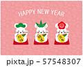 年賀状2020 松竹梅のまねき子 年賀状 ピンク 57548307