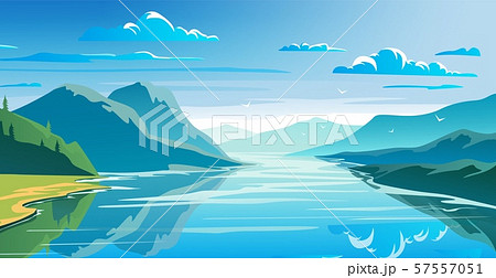 Natural landscape, mountains and lake, beautiful morning scene. 57557051