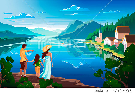 Family admires nature, beautiful mountain landscape with lake. Vector illustration 57557052