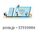 System updates with people updating operation in computing and installation programs. Flat vector illustration modern character design. For a landing page, banner, flyer, poster, web page. 57559984