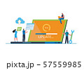 System updates with people updating operation in computing and installation programs. Flat vector illustration modern character design. For a landing page, banner, flyer, poster, web page. 57559985