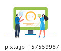 System updates with people updating operation in computing and installation programs. Flat vector illustration modern character design. For a landing page, banner, flyer, poster, web page. 57559987