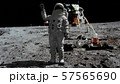 3D rendering. Astronaut walking on the moon and 57565690