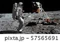 3D rendering. Astronaut walking on the moon. CG 57565691