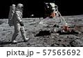3D rendering. Astronaut walking on the moon. CG 57565692