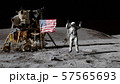 3D rendering. Astronaut jumping on the moon and 57565693
