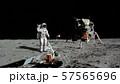 3D rendering. Astronaut walking on the moon. CG 57565696