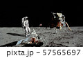 3D rendering. Astronaut walking on the moon. CG 57565697
