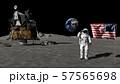 3D rendering. Astronaut saluting the American 57565698