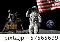 3D rendering. Astronaut saluting the American 57565699