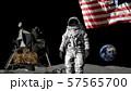 3D rendering. Astronaut saluting the American 57565700