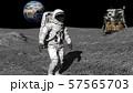 3D rendering. Astronaut walking on the moon. CG 57565703
