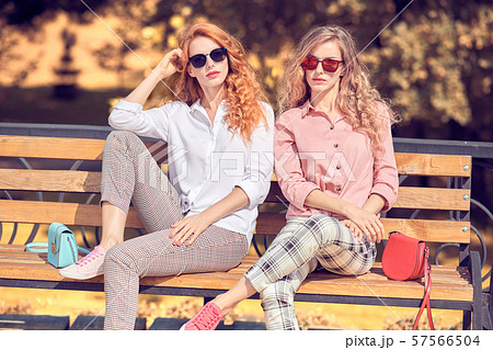 Fall Fashion Outdoor. Woman in Autumn outfit beach 57566504