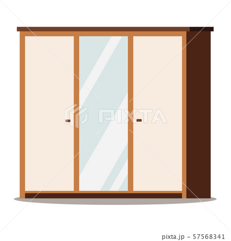 Wooden wardrobe with mirror isolated on white background. 57568341