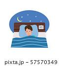 ベッドで眠る男性 イラスト 57570349