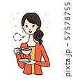 紅茶をのむ女性 ホッと一息 57578755
