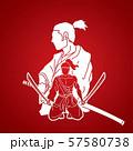 2 Samurai composition with swords cartoon graphic vector 57580738