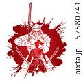 2 Samurai composition with swords cartoon graphic vector 57580741