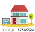 住宅 家 イラスト 一軒家 マイホーム シンプル 車 自動車 57585528