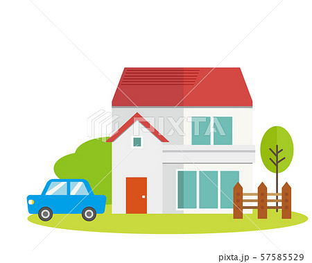 住宅 家 イラスト 一軒家 マイホーム シンプル 車 自動車 57585529