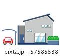 住宅 家 イラスト 一軒家 マイホーム シンプル 車 自動車 57585538