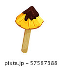 Triangular piece of pineapple on a stick. Vector illustration on a white background. 57587388