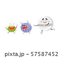 Cartoon round pill chasing viruses. Vector illustration on a white background. 57587452