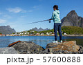 Woman fishing on Fishing rod spinning in Norway. 57600888