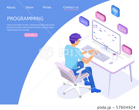 Programmer isometric character. Programming concept, web engineer at work. 57604924