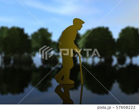 CG 3D イラスト 立体 シルエット 高齢者 お年寄り 老人 老後 引退 生活 散歩 57608222