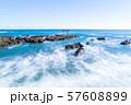 茨城県 大洗海岸 磯前神社の海の鳥居 長秒撮影 57608899