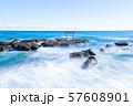 茨城県 大洗海岸 磯前神社の海の鳥居 長秒撮影 57608901