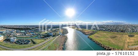 空撮 江戸川矢切付近から川下を望む 57610152