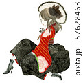 花柄の赤い袴を着た、少女のイラスト。大正ロマン、ハイカラ。 57628463