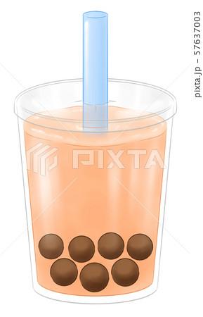 タピオカドリンク・蓋つき容器・水色のストロー 57637003