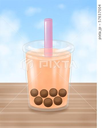 タピオカドリンク・蓋つき容器・ピンクのストロー・背景あり 57637004