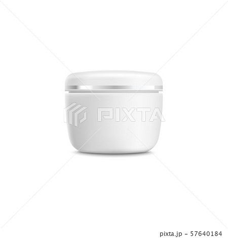 Realistic face cream container mockup - blank isolated branding template of white and silver plastic 57640184