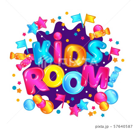 Kids room - child play zone sign with colorful confetti and fun lettering 57640587
