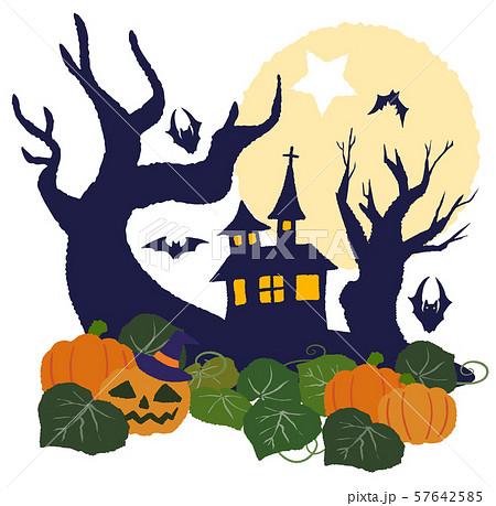 ハロウィン 魔女の家 夜 月 57642585