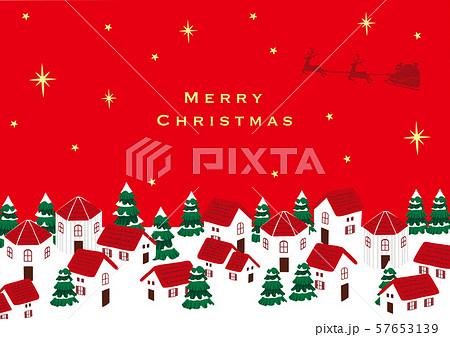 サンタクロースとクリスマスの町並み  57653139