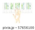 鍵盤と手、緑色 57656100